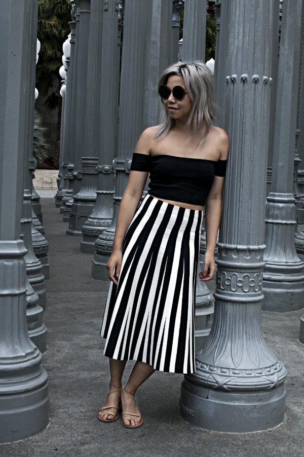 alexander wang resort striped skirt